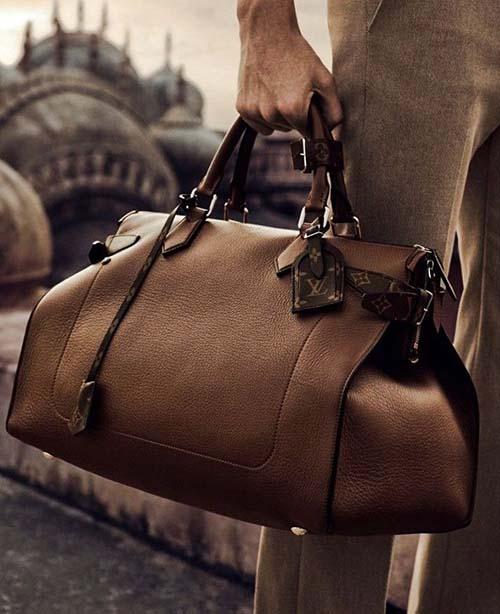brun läderväska herr